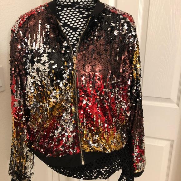 Ashley Stewart Jackets & Blazers - Ashley Stewart Multi Colored Sequined Bomber